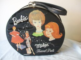 1963 Barbie™ & Midge™ TRAVEL PALS HAT BOX STYLE CASES - variation