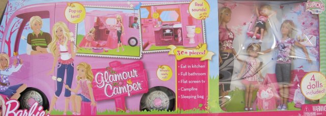 2009 BARBIE GLAMOUR CAMPER Playset 30+ Pieces w 'SOUNDS', 4 DOLLS,