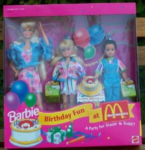 1993Birthday Fun At McDonald's Gift Set Barbie Stacie Todd