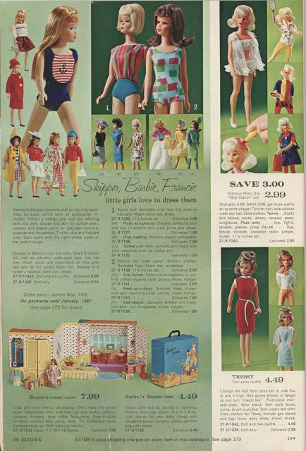 1966 Eaton's Canada Christmas Catalogue Page 44 American Girl Barbie, Bendable Skipper, Francie, Pretty as a Picture, Club Meeting, Coffee's On, First Formal Fresh-as-a-Daisy, Gad-Abouts, Dream Home, vinyl case, Glamour Misty Miss Clairol Doll Tammy Fashions Tressy