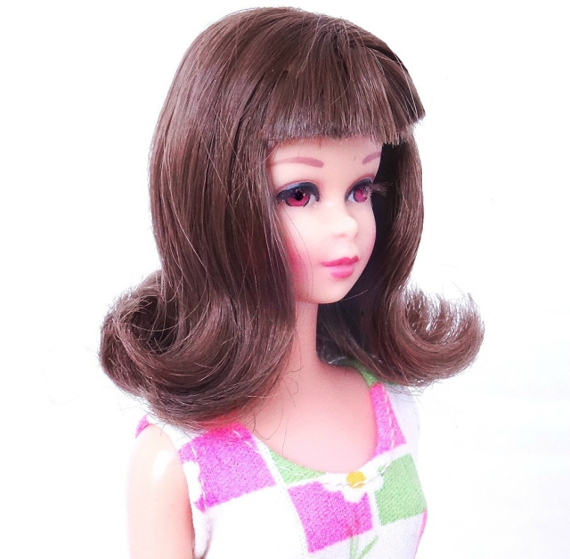 Brunette Bend Leg Francie Doll face