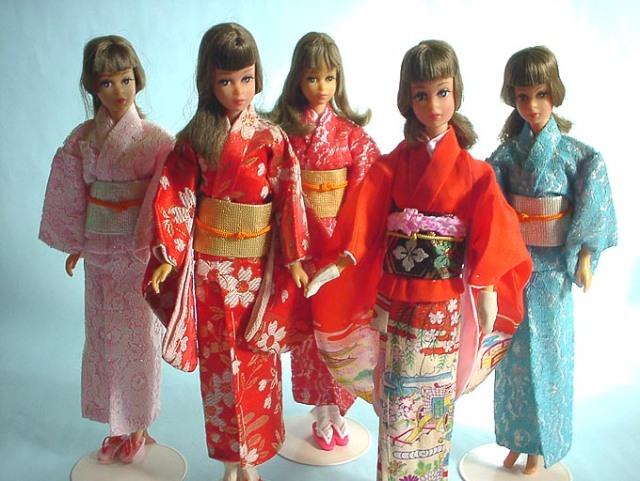 Rare Japanese Francie dolls in Kimono