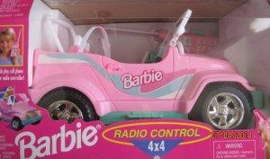 Barbie Radio Control 4 X 4 JEEP Vehicle CAR w Working HEADLIGHTS (1998 Arcotoys, Mattel
