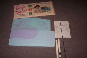 1963 BARBIE SHELVES PORTABLE HOME DIPSLAY - inside