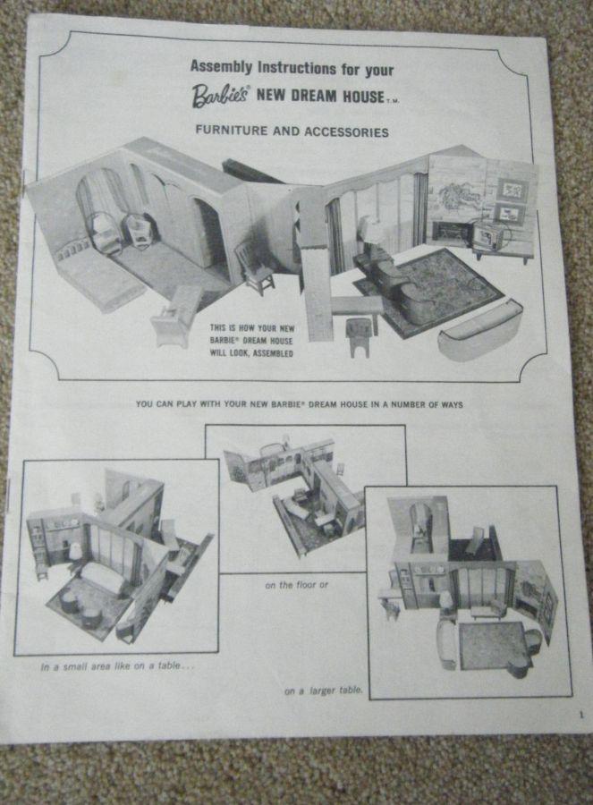 1965 Mattel Barbie Dream House Assembly Instructions Original