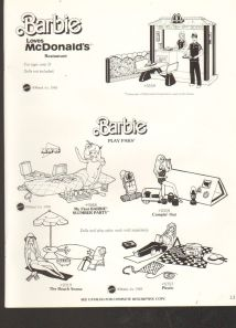 1983 VINTAGE AD SHEET #1333- MATTEL - BARBIE DOLL - MCDONALDS