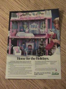 1985 BARBIE ADVERTISEMENT HOME FOR THE HOLIDAYS AD GIRL