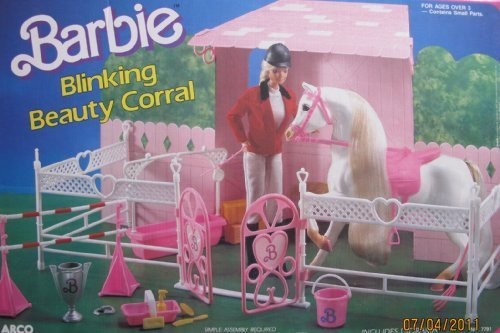 1987 Barbie BLINKING BEAUTY CORRAL Playset HORSE STABLE w Diorama Mattel-Arco Toys