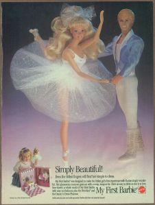 1989 Ad - My First Barbie & Ken Dolls Mattel magazine advertisement