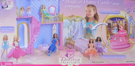 2006 BARBIE The 12 DANCING PRINCESSES MAGICAL DANCE CASTLE Playset w MUSIC & 2 Sided Play