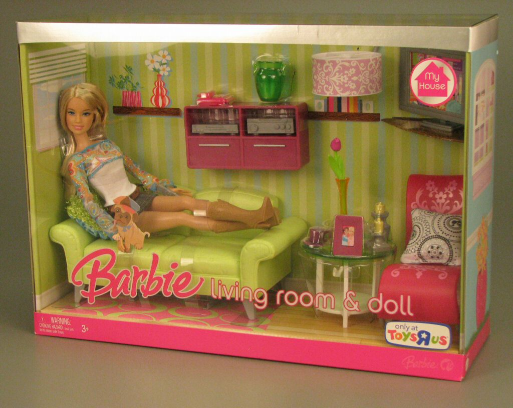 2007 Barbie My House Turq Maroon Brand New Rare Find Living Room And Doll Barbie Doll