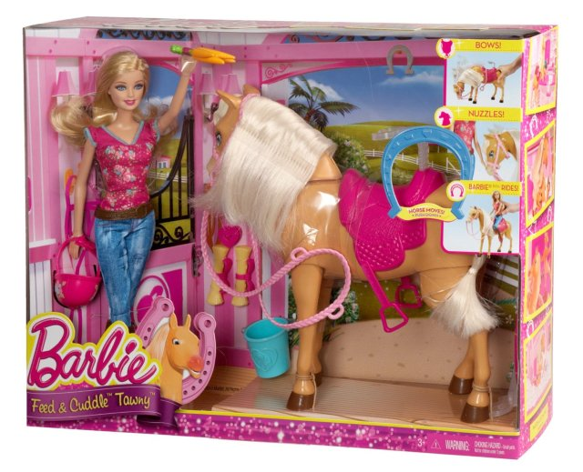 2014 Barbie Feed and Cuddle Tawny Horse and Doll Playset nrfb