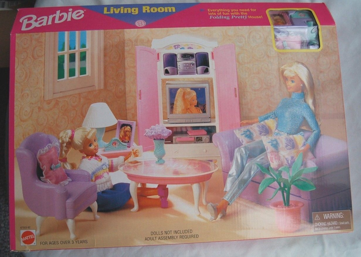 Ordinaire #67553 92 Barbie Living Room Playset U2013 Folding Pretty House