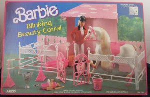 ARCO Mattel Barbie BLINKING BEAUTY CORRAL Playset HORSE STABLE Diorama Prancer