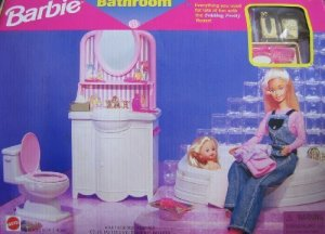67555-92 Barbie Folding Pretty House BATHROOM Playset