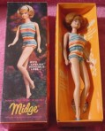 1965 #1080 MIdge 'Lifelike' Bendable Legs Red head MIB