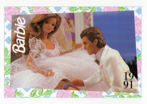 1991 WEDDING DAY MIDGE & ALLEN #296,1991 Mattel Trading CARD
