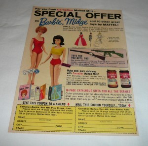 964 Carnation Milk premiums ad page for offer a Barbie & Midge Catalogus