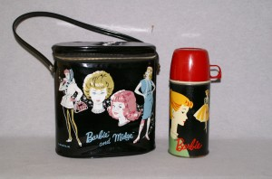 1963 Vinyl Barbie & Midge OVAL Lunch Pail, Barbie Lunch Box w/Original Thermos