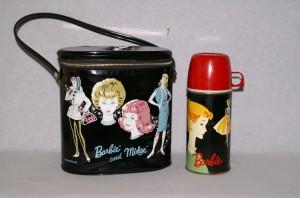 1963 Vinyl Barbie & Midge OVAL Lunch Pail, Barbie Lunch Box w/Original Thermos