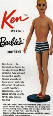 Ken doll's first advertising in the Mattel dealer catalogue of 1961. Notice the black and white swim trunks made from the same material as Barbie doll's swimsuit. Although literally impossible to find, a small quantity of these versions were released.