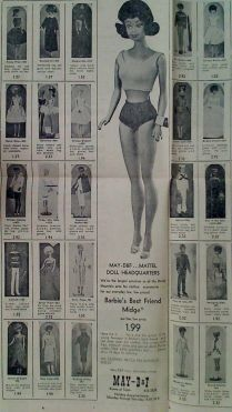 1962 HOLIDAY SALE - First Midge Doll and BARBIE DOLL CLOTHING FOR SALE IN NEWSPAPER AD Full Page