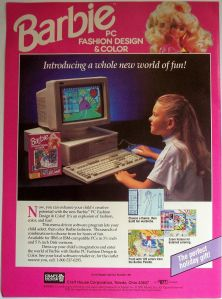 1991 original promo AD little girl playing Barbie computer game
