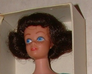 860~Midge~StraightLegs~Brunette~rare box picture-blue band in here hair- colse up doll head