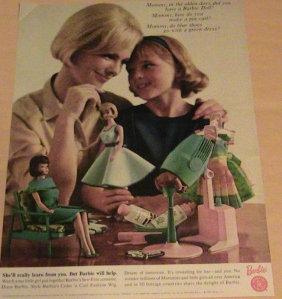 1965 MATTEL TOY ADVERTISEMENT BARBIE DOLL AD LADY GIRL PLAY COSTUME FASHION FUN