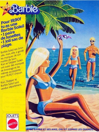 1979 publicité Malibu Barbie, Ken and Skipper - France