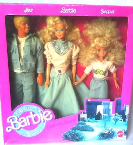1989 #4893 BARBIE COOL CITY BLUES with KEN & SKIPPER 2
