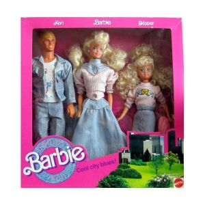 1989 #4893 BARBIE COOL CITY BLUES with KEN & SKIPPER - variation box