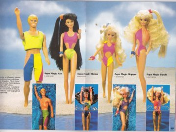 1990-91 Barbie Journaal AQua Nagic Ken, Marina, Skipper and Barbie - GERMANY