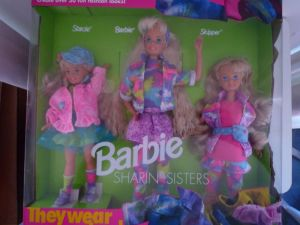 1993 #10143 Toys R Us Sharin' Sisters Barbie, Skipper and Stacie gift set