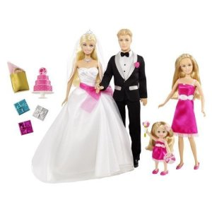 2000 BARBIE Doll & Ken SKIPPER & Kelly ~ WEDDING Day SET I Can Be BRIDE & GOOM flyer