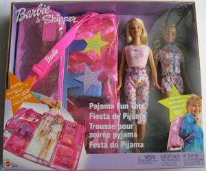 2003 Barbie & Skipper Pajama Fun Tote Playset