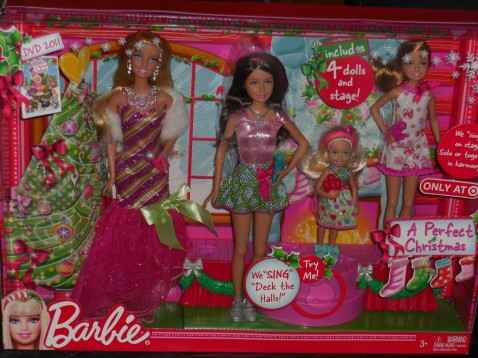 2010 A PERFECT CHRISTMAS BARBIE, STACIE, SKIPPER & CHELSEA (KELLY) GIFTSET