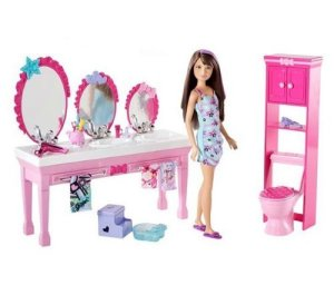 2010 Barbie Sisters Beauty Fun Bathroom playset with Skipper Doll flyer