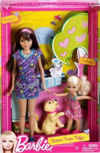 2012 W3286 Barbie Sisters Chelsea & Skipper 2 Dolls Train Taffy Puppy Dog