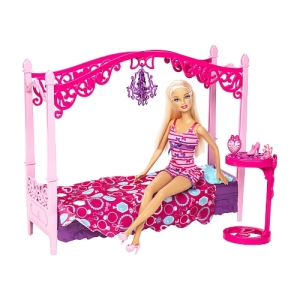 2014 Barbie - Glam Bedroom! Doll and Playset