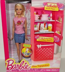 2014 Glam Refrigerator with Barbie Doll.