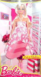 2014 PINK & FABULOUS LONG EVENING GOWN BARBIE DOLL #1