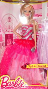 2014 PINK & FABULOUS LONG EVENING GOWN BARBIE DOLL #3
