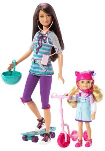Barbie Sister Skateboard Playset with Skipper and Chelse