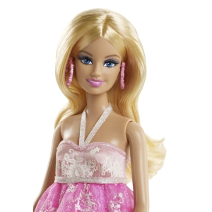 BARBIE® PINK & FABULOUS™ Doll - Flower Gown face