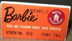 #1 Sample Dressed Barbie Doll box label