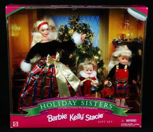 1998 Holiday Sisters Barbie, Stacie and Kelly in plaid
