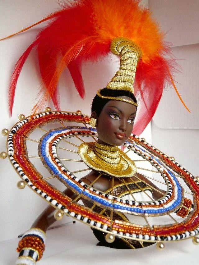 1999 Bob Mackie Fantasy Goddess of Africa™ Barbie® Doll face