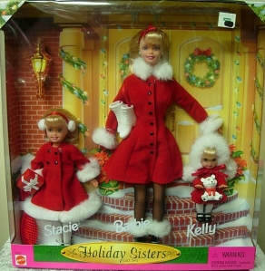 1999 Holiday Sisters Barbie, Stacie and Kelly in red revised