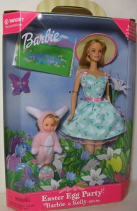 1999 Target Easter Bunny Fun Barbie and Kelly gift set